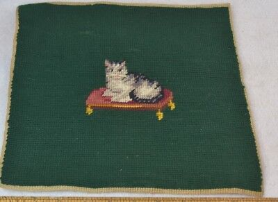 needle point kitty cat hand made 11 in. top pillow original antique vg