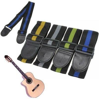 Guitar Strap for Electric Acoustic Bass Adjustable Soft Thick Leather End US