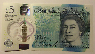 Banknote  5  Pfund Pounds Bank of England Great Britain Polymer 2015 unc