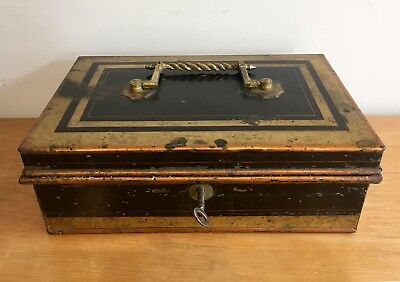 Antique Vintage Metal Cash Box Tin with Original Working Key and Internal Trays