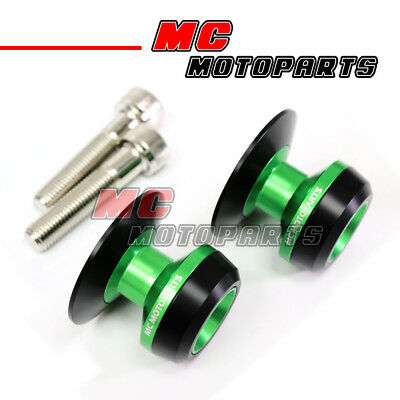Green Twall Racing M10 Swingarm Spools Sliders For Kawasaki ZX6R ZX6RR 636 98-12