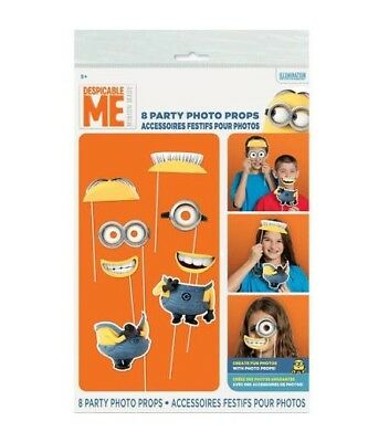 Minions, Despicable Me 8 Piece Party Photo Booth Props Fun Birthday Party Photos