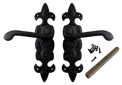 Traditional Pair Black Antique Door Handles Lever Latch Decorative Handle Set