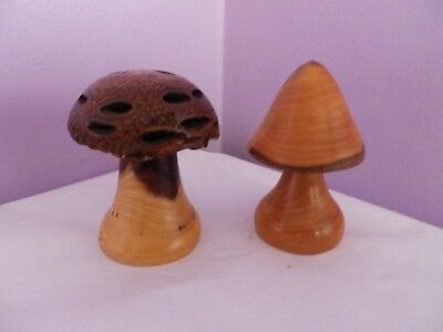 Fab Pair Of Turned Wooden Toad Stools By Richard Cotton Woodturning 8 Cms Tall
