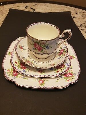 "Vintage Royal Albert ""petit Point"" Cup And Saucer Trio Plus One Plate"