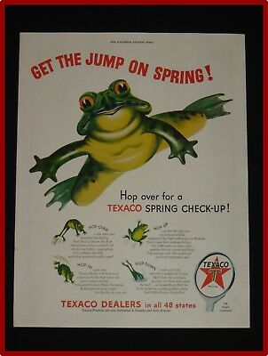 April 3, 1954 Texaco Ad ~ Get the Jump on Spring ~ Frog