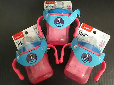 3 Playtex Spill-Proof Soft Spout Training Cup - Pink/blue 4M+ Rc 1485