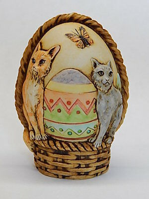 Harmony Kingdom Artst Neil Eyre Designs Easter Egg Cat Basket Feline Delight LE