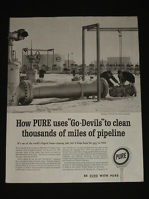 February 7, 1959 Pure Oil Company Ad ~ Uses Go Devils to Clean Pipeline