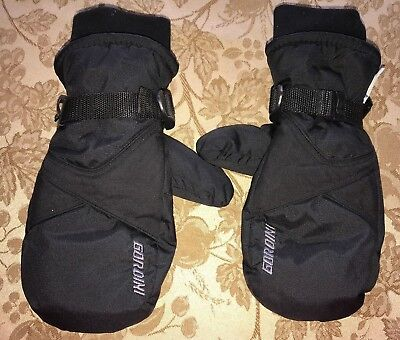 boys BLACK WINTER GLOVES water proof GORDINI leather palms AGES 8 UP super @@