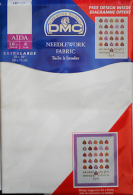 DMC NEEDLEWORK CROSS STITCH FABRIC AIDA BLANC 16 COUNT WHITE 50cms x 75cms