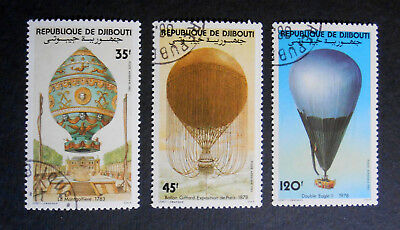 3 Francobolli Djibouti 1983 Hot Air Balloons Stamps 200Th Of Flight Set Complete