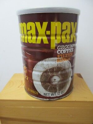 Vintage Max Pax Ground Coffee Filter Rings General Foods Unopened Tin 12 Oz Can