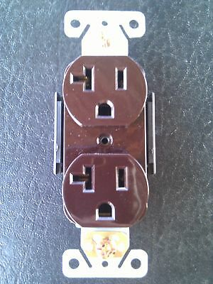 (20 pc) Standard Duplex Receptacles 20 Amp Brown Self Grounding 20A Outlets CR20