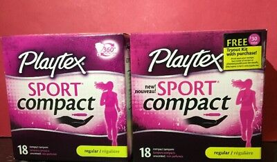 Lot 2 Playtex SPORT COMPACT Tampons R REGULAR 18 Unscented