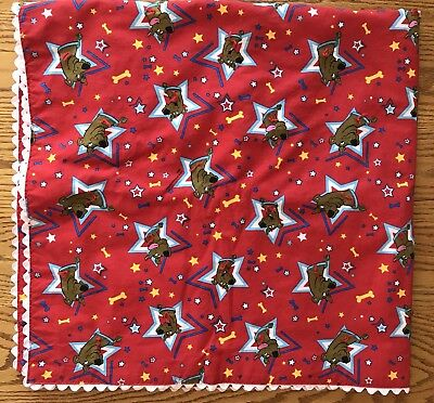 "Handmade Scooby Doo Red Coverlet Quilt Blanket Twin Bed Crib 42"" X 43"""