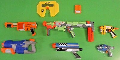 Nerf N-Strike + Nitron Disc Launcher + Bonus Clip Assorted Dart Gun 6 Weapon Lot