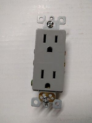 20 pc Decorator Duplex Receptacle 15 Amp GRAY 15A Decora Outlet Self Grounding