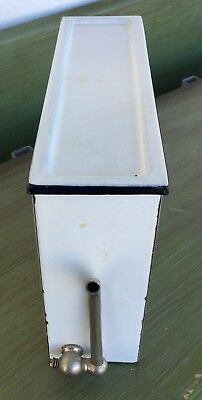 Antique Vintage White Enamelware Refrigerator Box Water Dispenser Spigot w/ Lid