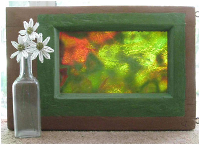 Small Stained Glass Window Antique 1800s Pine Frame Asymmetrical Rust & Green