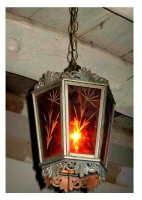 Antique Stained Glass Light Amber Etched Foyer Ceiling Hanging Fixture 1920s