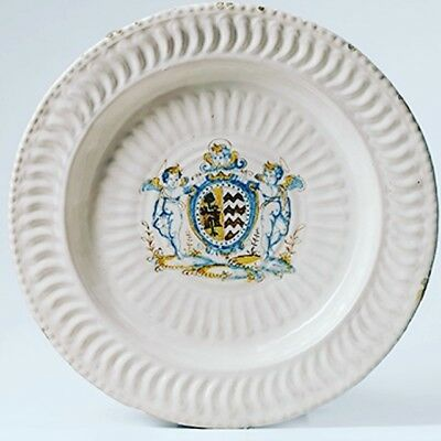 Monumental Italian Amorial Maiolica Charger 1600 Faience Delft Delftware 17Eme