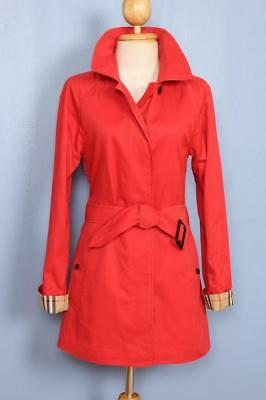BEAUTIFUL Womens BURBERRY Single Breasted Short TRENCH Coat Mac Red 6/8