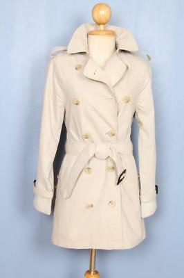 BEAUTIFUL Womens BURBERRY Double Breasted Short TRENCH Coat Mac Grey 4/6 XS
