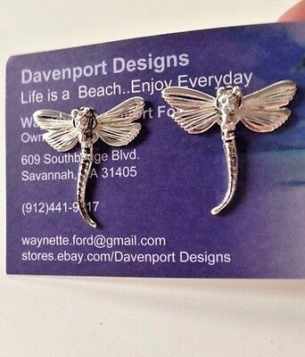 """Dragonfly Earrings Wire filagree Jewelry Wiggly Tail Crystal accents 1.25"""" L New"""