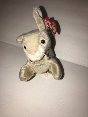 TY Nibbly the Bunny Beanie Baby Gray Tan Rabbit MWMT Birthday May 7 1998 #4217