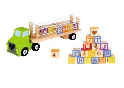 NEW Tooky Toy Wooden Alphabet & Number Block Truck