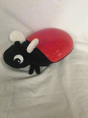 Discovery Kids Night Light Red Lady Bug Multi Colored Stars around the Room PER