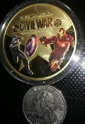 The Captain America Civil War Super Hero Gold Colored Challenge Coin