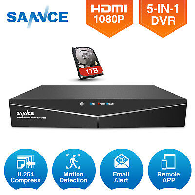 SANNCE 5in1 H.264 HD 1080N 8CH CCTV DVR for Security Camera System Alert NO/1TB
