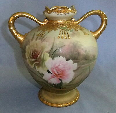 Stunningly Beautiful 7 1/2 In Tall Nippon Matt Finish Vase With Gold And Beads