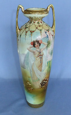 Beautiful 12 1/4 Inch Tall Nippon Portrait Vase Lady With Peacock Jewels