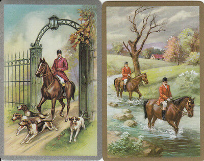 Vintage Swap/Playing Cards - 2 Single - HORSE & HOUNDS IN CREEK