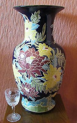 """Large Chinese Hand-painted 20"""" Earthenware Vase with Floral Clusters."""