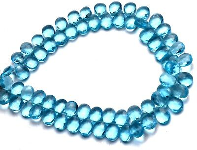 Swiss Blue Topaz Color Hydro Quartz Faceted 7x5MM Pear Shape Briolette Beads7.5""