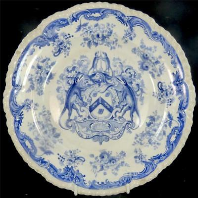 C1825 ANTIQUE BLUE TRANSFERWARE PLATE WORSHIPFUL COMPANY IRON MONGERS ARMORIAL b