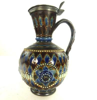 C1881 ANTIQUE DOULTON LAMBETH STONEWARE EWER JUG by EMILY ALLEN