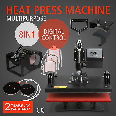 8in1 T-shirt Mug Hat Plate Cap Heat Press Machine Sublimation Printing Transfer