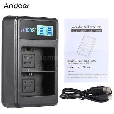 Andoer LP-E6 2-Slot Rechargeable LED Battery Charger Pack USB for Canon EOS 6D