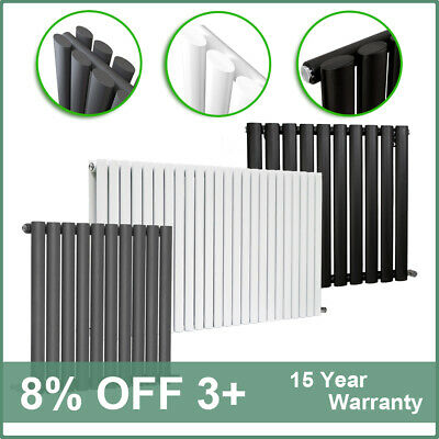 Horizontal Designer Radiator Oval Column Panel Central Heating Anthracite White