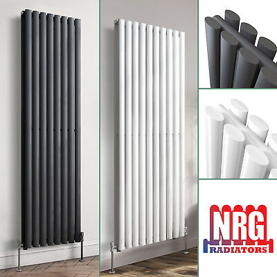 1800mm Vertical Designer Radiator Oval Column White Anthracite Tall Upright Rads