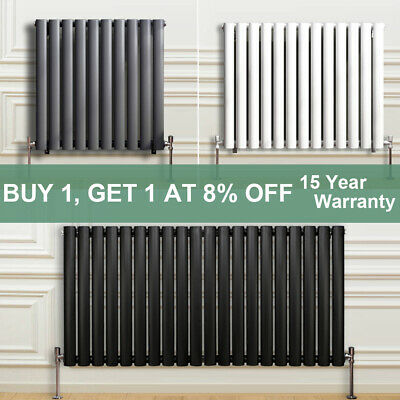 Horizontal Oval Column Designer Radiators Panel Rad White Anthracite Modern