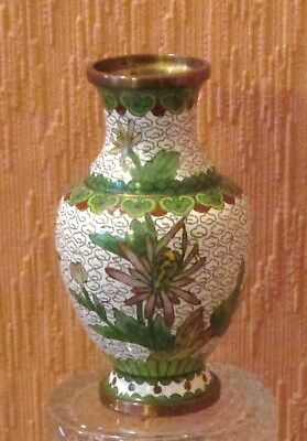 """4"""" Chinese Cloisonne' Vase with Bird, Flowers and Ruyi Borders."""