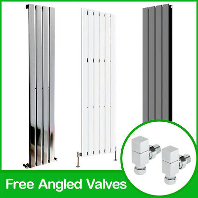 Tall Upright Vertical Flat Panel Designer Radiators With Free Angled Valves