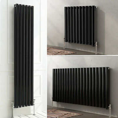 Luxury Black Designer Horizontal Vertical Oval Column Panel Bathroom Radiator