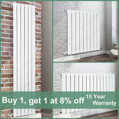White Flat Panel Column Designer Radiator Central Heating Rads Single Double